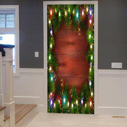 Christmas Pine String Lights Pattern Door Cover Stickers