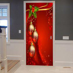 Christmas Balls Pattern Door Cover Stickers - Red - 38.5*200cm*2pcs