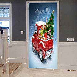 Christmas Car Tree Pattern Door Cover Stickers