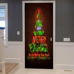 Christmas Greetings Pattern Door Cover Stickers - 38.5*200cm*2pcs