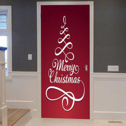 Merry Christmas Pattern Door Cover Stickers - Red - 38.5*200cm*2pcs