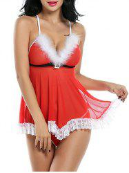 Santa Lingerie Low Cut Sheer Mesh Babydoll -