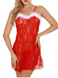 Christmas Lace Sheer Cami Babydoll Dress -