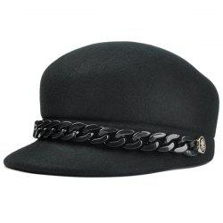 Vintage Metal Link Chain Embellished Artificial Wool Pillbox Hat -