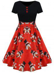 Christmas Santa and Star Print Vintage Dress -