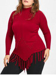 Plus Size Fringed Ribbed High Neck Sweater -