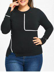 Striped Slit Plus Size Sweater -