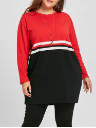 Color Block Plus Size Double Striped Sweatshirt -