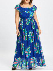 Flounce Plus Size Floral Maxi Chiffon Dress -