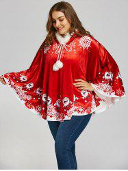 Santa Claus Print Plus Size Velvet Cape Coat - Red - One Size