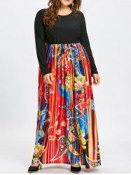 Paisley Printed Plus Size Maxi Dress with Sleeves -