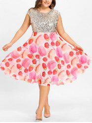 Print Plus Sequin Sparkly Fit and Flare Cocktail Dress -