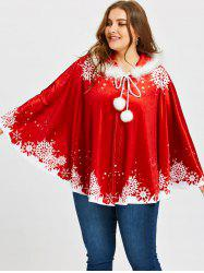 Christmas Snowflake Print Plus Size Velvet Cape Coat - Red - One Size