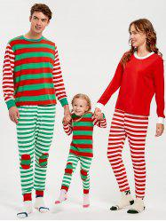 Patched Stripe Family Christmas Pajama Set -