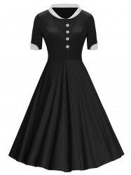 Boutons Col montant Midi Vintage Dress -