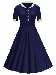 Buttons Stand Collar Midi Vintage Dress -