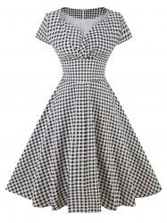 Robe patineuse à carreaux vintage -