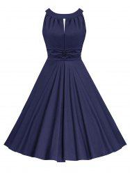 Ruched Keyhole Sleeveless Vintage Dress -