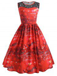 Christmas Ball Lace Yoke Plus Size Sleeveless Dress -