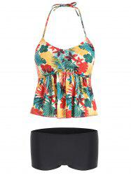 Printed Halter Neck Peplum Tankini Swimsuit -