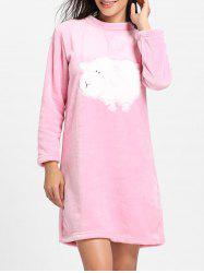 Cute Sheep Pattern Fleece Pajama Dress -