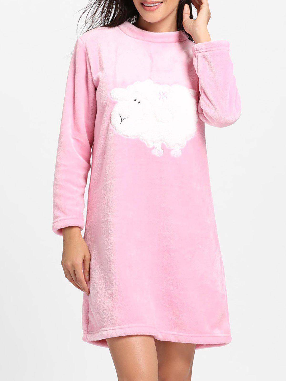 Shop Cute Sheep Pattern Fleece Pajama Dress