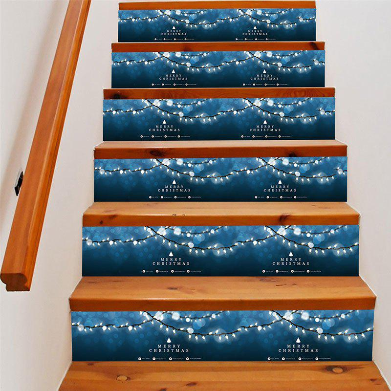 Christmas String Lights Pattern DIY Decorative Stair StickersHOME<br><br>Size: 100*18CM*6PCS; Color: BLUE; Wall Sticker Type: Plane Wall Stickers; Functions: Stair Stickers; Theme: Christmas; Pattern Type: Letter; Material: PVC; Feature: Removable; Weight: 0.4000kg; Package Contents: 6 x Stair Stickers (Pcs);