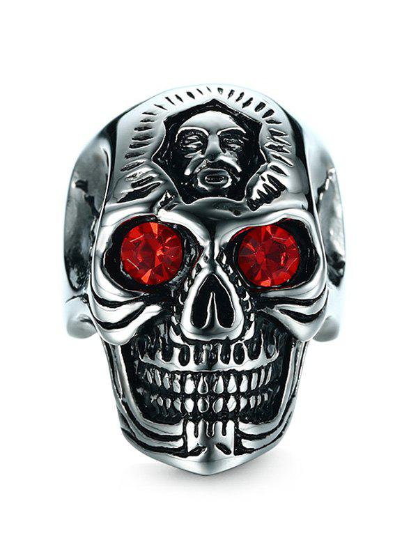 Discount Rhinestone Engraved Skull Stainless Steel Ring