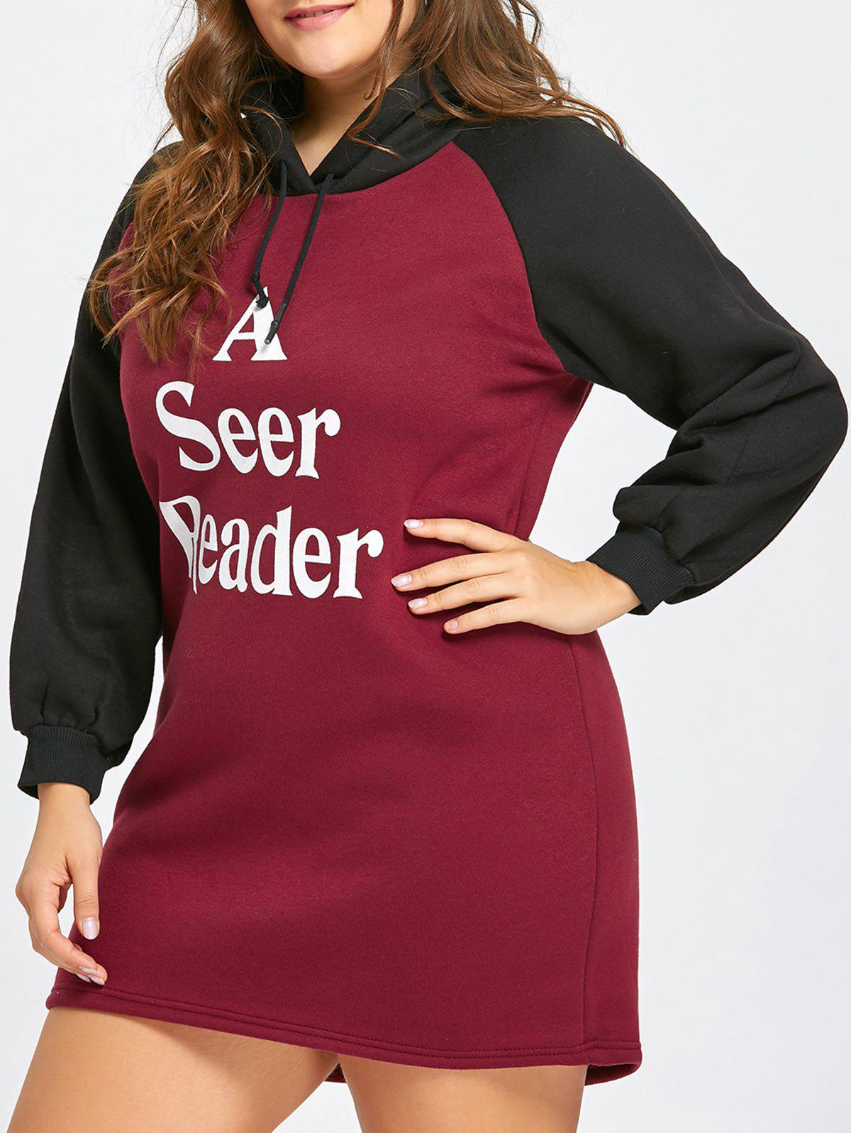 Store Letter Print Flocking Plus Size Hoodie Dress