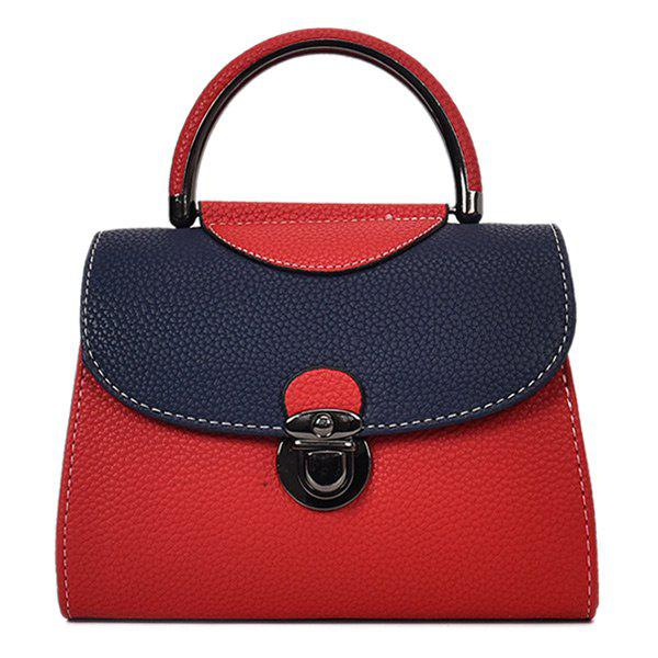 Cheap PU Leather Color Blocking Handbag With Strap