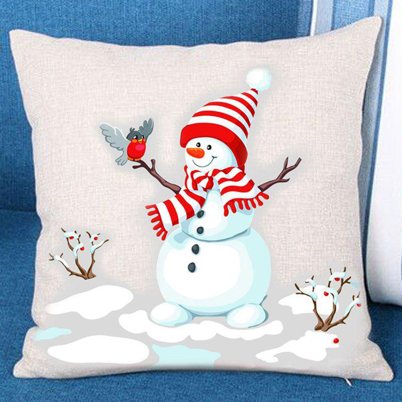 Shop Branches Snowman Pattern Decorative Pillow Case