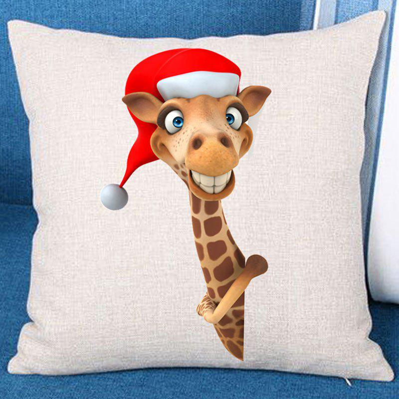 Christmas Giraffe Patterned Throw Pillow CaseHOME<br><br>Size: W18 INCH * L18 INCH; Color: BROWN; Material: Linen; Fabric Type: Linen; Pattern: Animal; Style: Festival; Weight: 0.0700kg; Package Contents: 1 x Pillow Case;