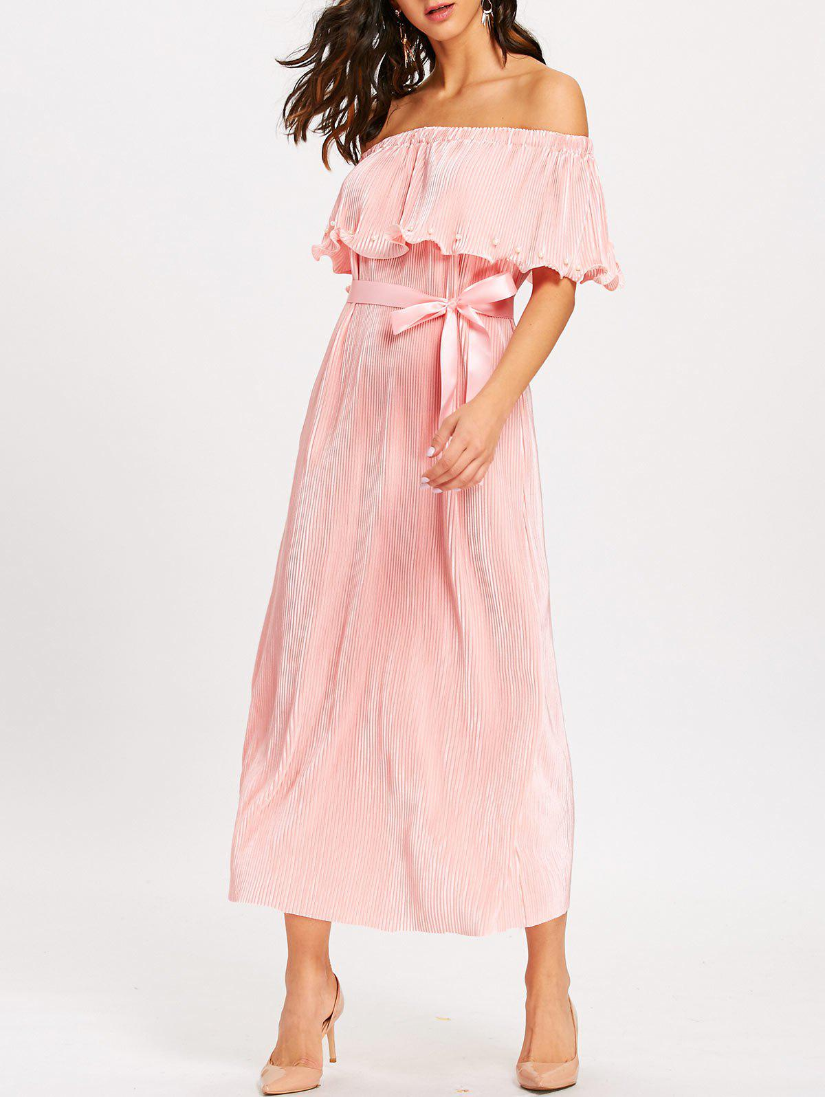 34f79901213 2019 OFF The Shoulder Flounce Pleated Maxi Dress