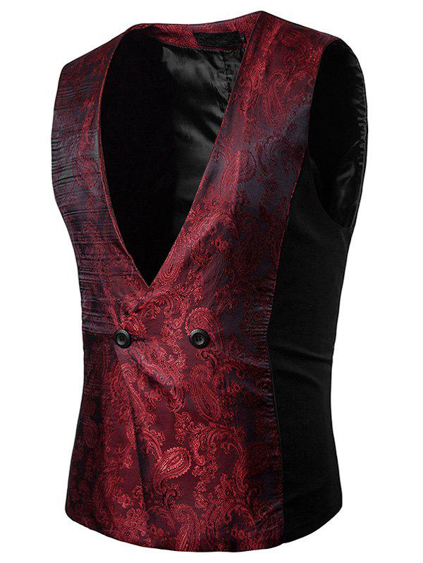 Best Paisley V Neck Double Breasted Waistcoat