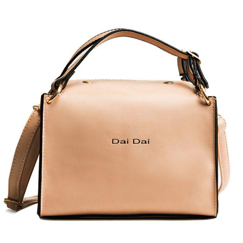 Latest Letter Print PU Leather Handbag With Strap