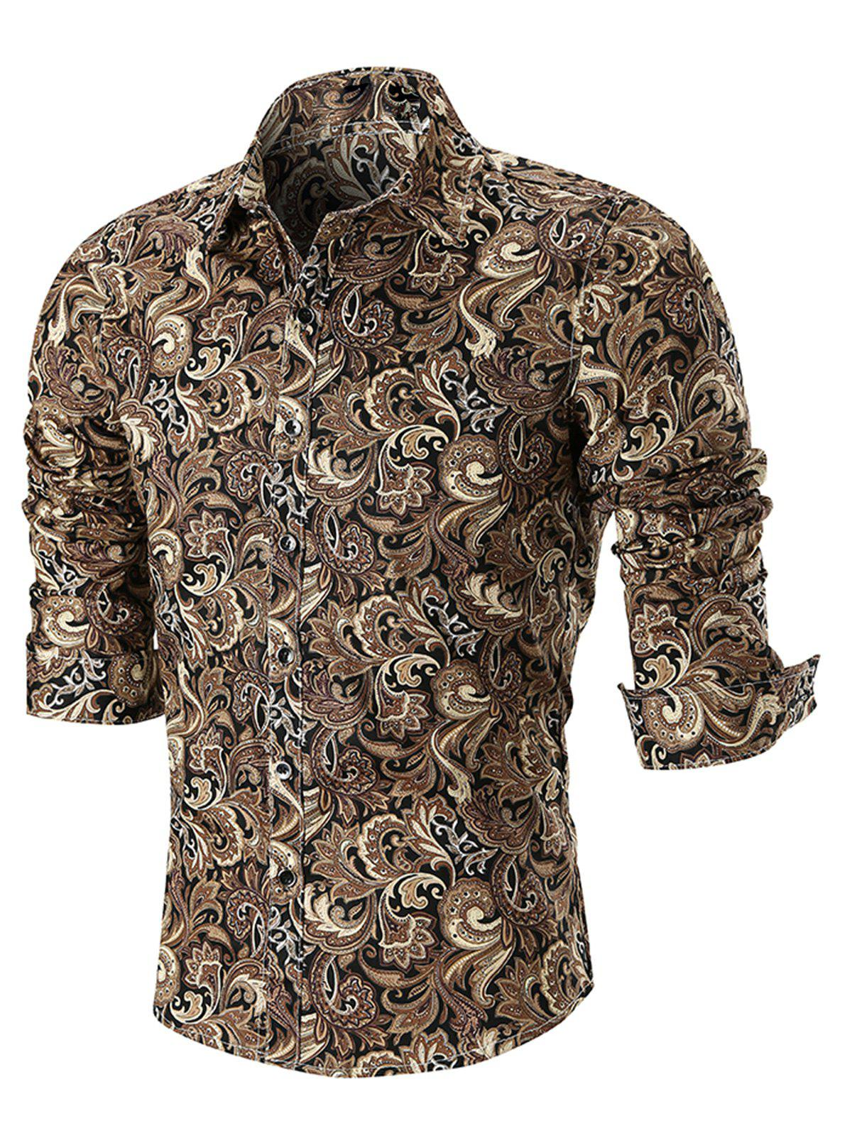 Best Turn Down Collar Button Cuffs Paisley Print Shirt