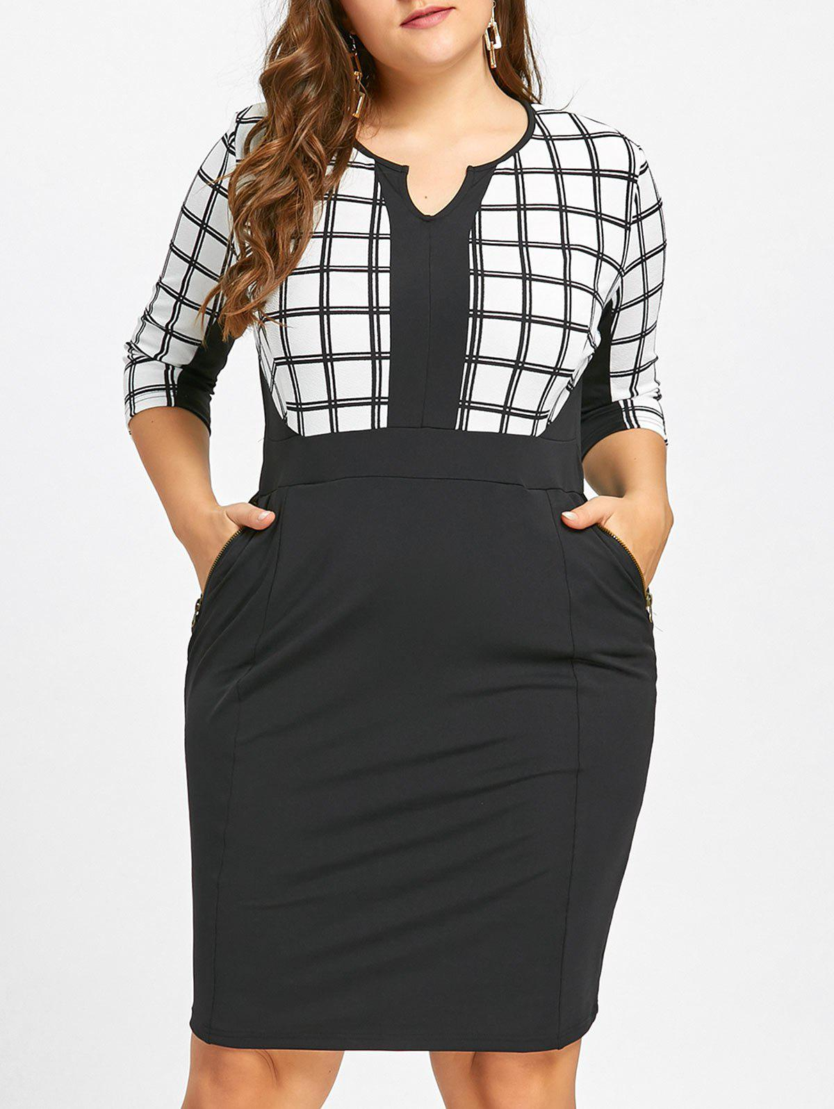 Zipper Embellished Plus Size Checked Sheath DressWOMEN<br><br>Size: 5XL; Color: WHITE AND BLACK; Style: Work; Material: Cotton Blend,Polyester; Silhouette: Sheath; Dresses Length: Knee-Length; Neckline: Scoop Neck; Sleeve Length: Half Sleeves; Embellishment: Pockets; Pattern Type: Plaid; With Belt: No; Season: Fall; Weight: 0.4500kg; Package Contents: 1 x Dress;