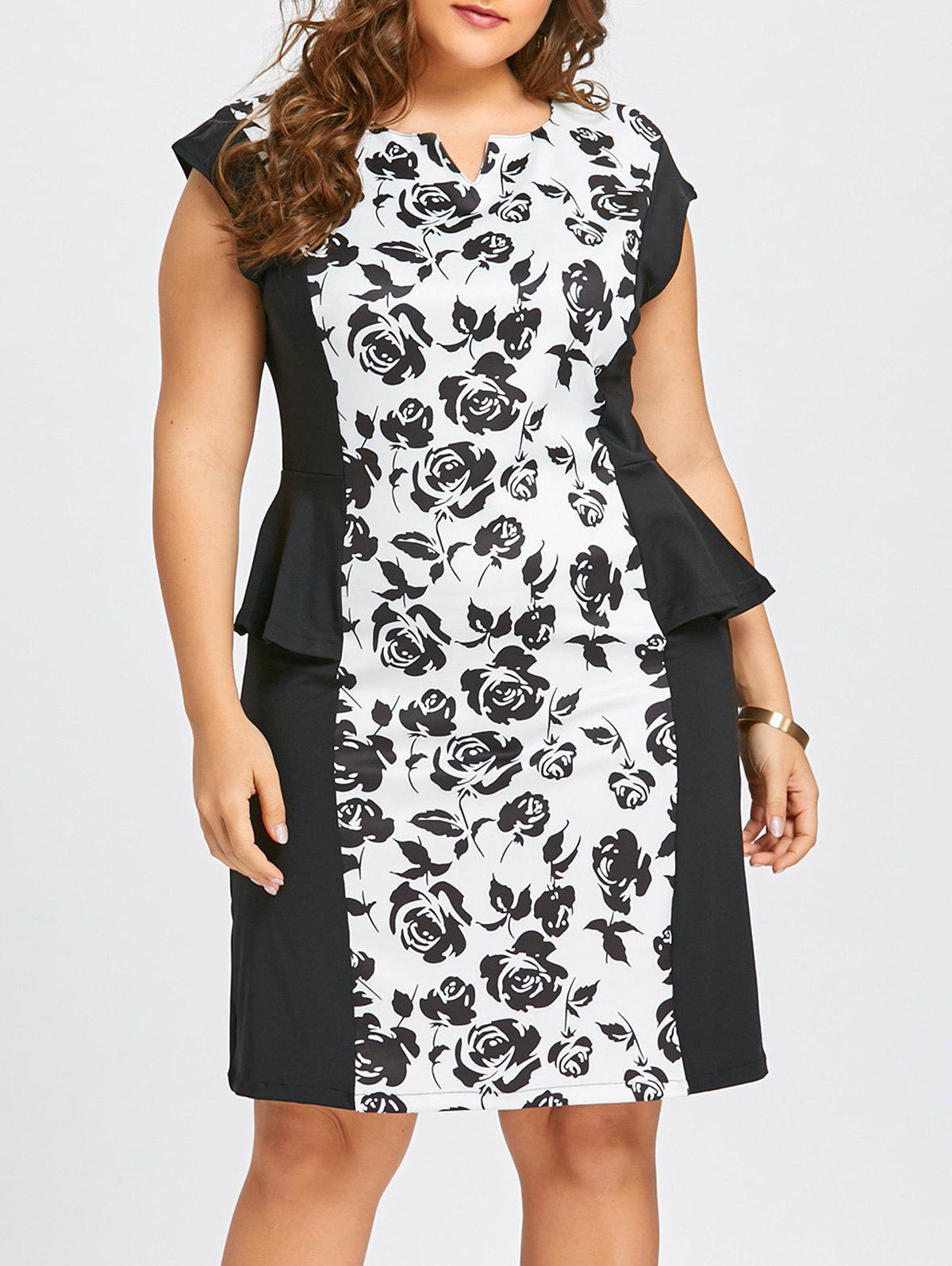 Plus Size Notched Floral Peplum Fitted DressWOMEN<br><br>Size: 6XL; Color: WHITE; Style: Work; Material: Polyester; Silhouette: Sheath; Dresses Length: Knee-Length; Neckline: V-Neck; Sleeve Type: Cap Sleeve; Sleeve Length: Short Sleeves; Embellishment: Flounce,Ruffles; Pattern Type: Floral; With Belt: No; Season: Fall,Winter; Weight: 0.4500kg; Package Contents: 1 x Dress;