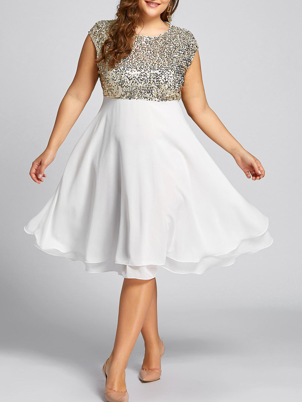 Flounce Plus Size Sparkly Sequin Cocktail DressWOMEN<br><br>Size: 2XL; Color: GOLDEN; Style: Club; Material: Polyester; Silhouette: Ball Gown; Dresses Length: Knee-Length; Neckline: Round Collar; Sleeve Length: Sleeveless; Waist: High Waisted; Embellishment: Ruffles,Sequins; Pattern Type: Solid Color; With Belt: No; Season: Fall,Winter; Weight: 0.5500kg; Package Contents: 1 x Dress;