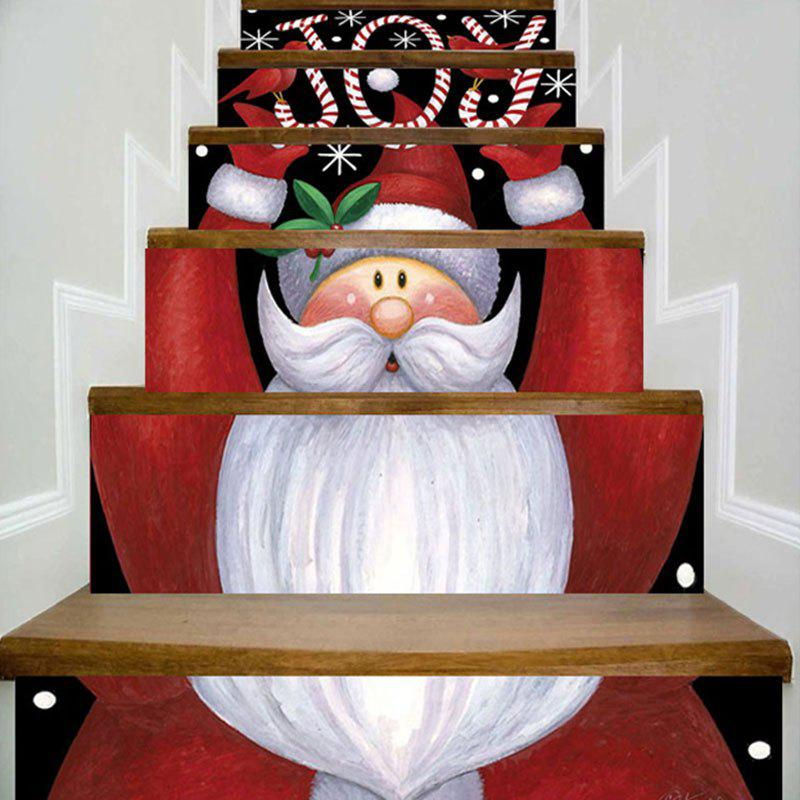 Joy Santa Claus Printed DIY Decorative Christmas Stair StickersHOME<br><br>Size: 100*18CM*6PCS; Color: COLORMIX; Wall Sticker Type: Plane Wall Stickers; Functions: Stair Stickers; Theme: Christmas; Pattern Type: Letter,Santa Claus; Material: PVC; Feature: Removable; Weight: 0.3500kg; Package Contents: 6 x Stair Stickers (Pcs);