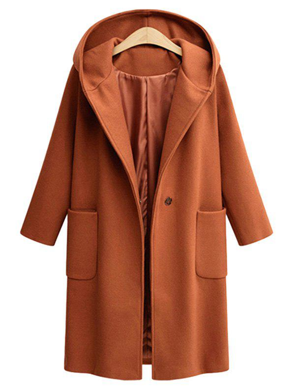 Sale Plus Size Front Pockets One Button Hooded Coat