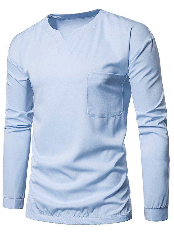 Outfits Elastic Waist Pocket Long Sleeve T-shirt
