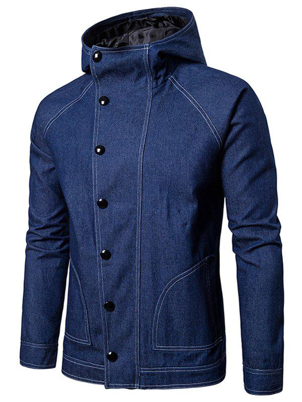 Discount Suture Hooded Buttons Zip Up Jean Jacket