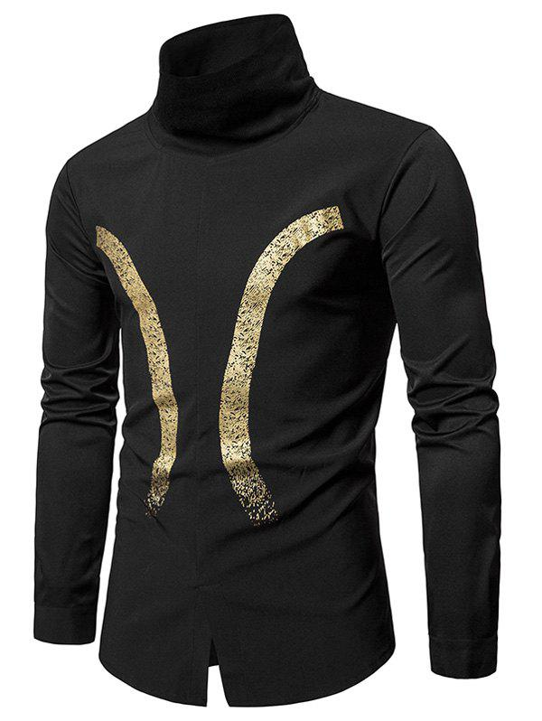 Trendy Bronzing Print Ribbed Turtle Neck Pullover Shirt