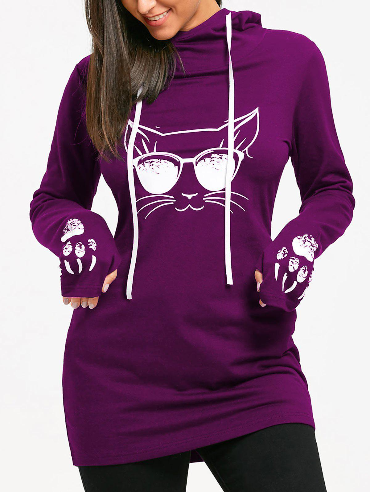 Hot Cat Print Drawstring Tunic Hoodie