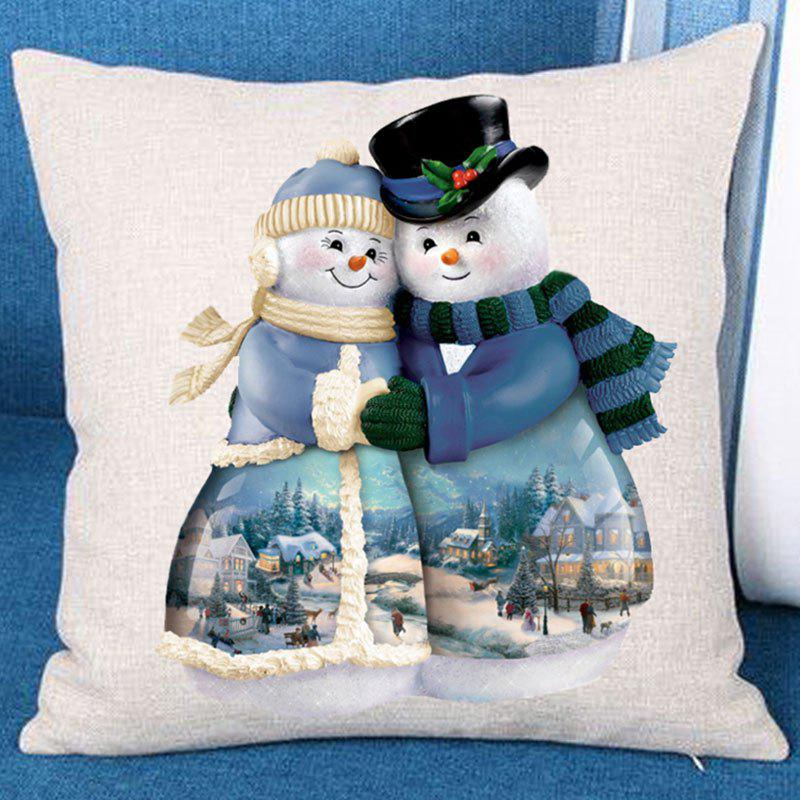 Two Hugged Snowmen Patterned Throw Pillow CaseHOME<br><br>Size: W18 INCH * L18 INCH; Color: WHITE AND BLUE; Material: Linen; Fabric Type: Linen; Pattern: Snowman; Style: Festival; Weight: 0.0700kg; Package Contents: 1 x Pillow Case;