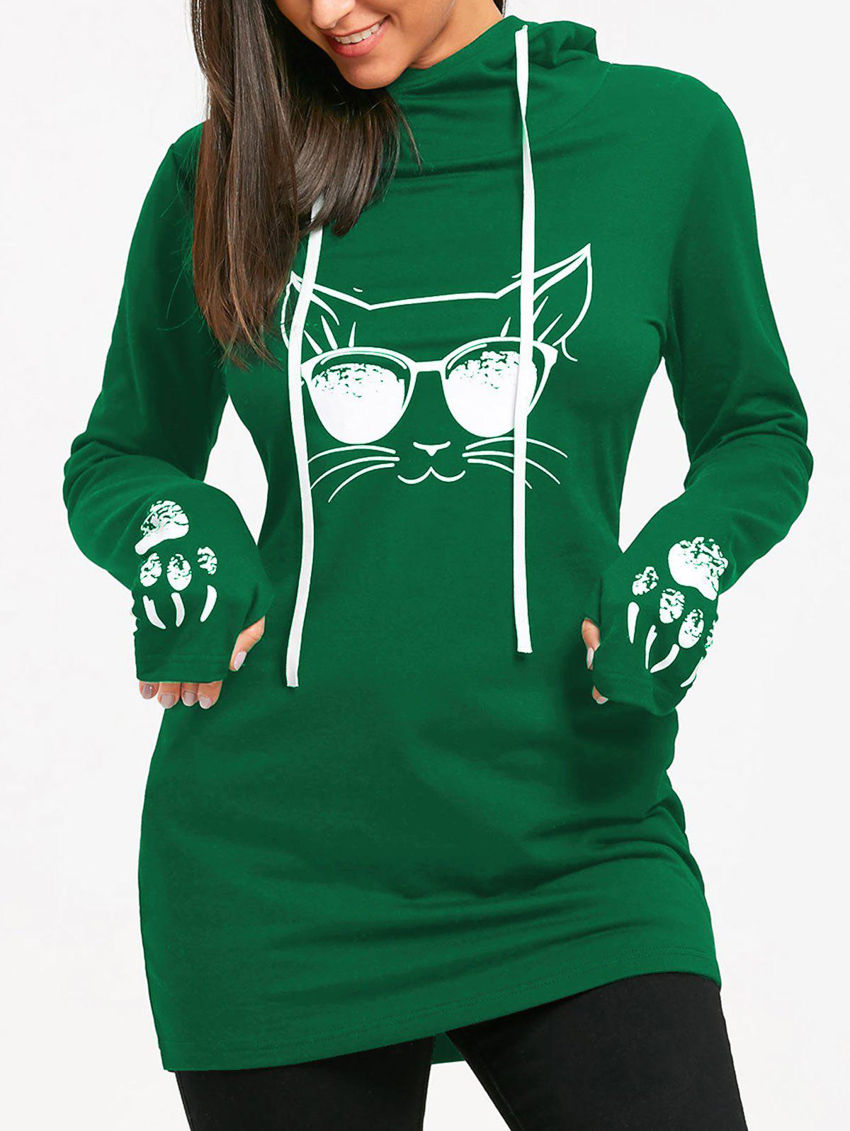 Outfit Cat Print Drawstring Tunic Hoodie