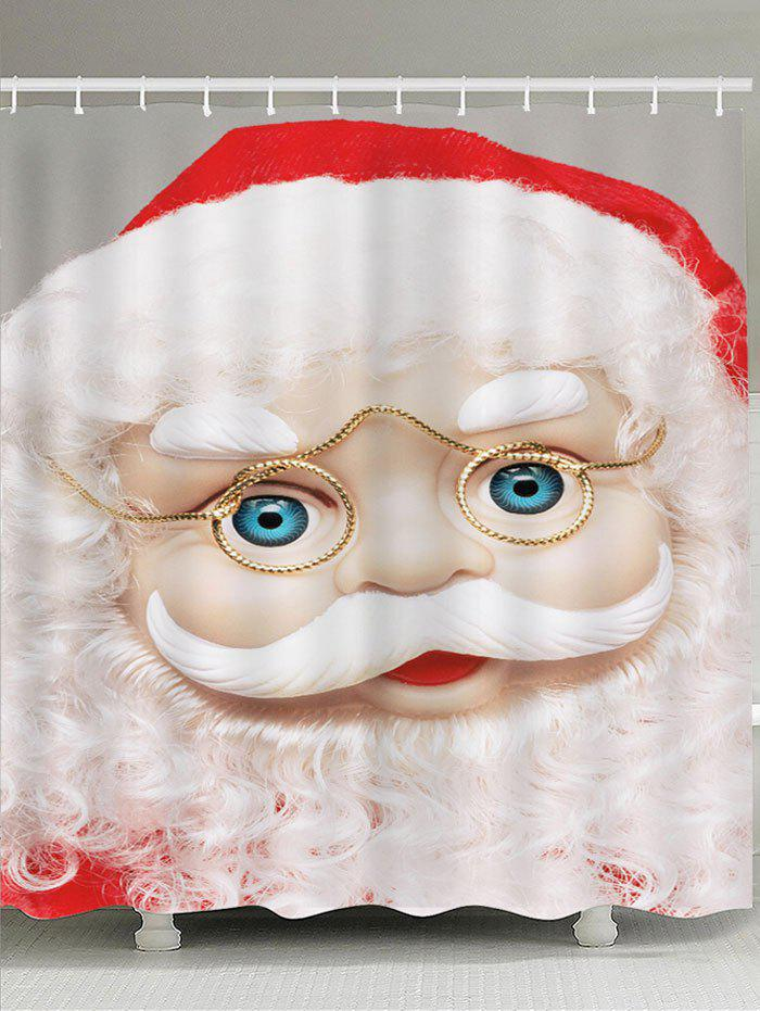 Waterproof Eyeglasses Santa Claus Pattern Shower CurtainHOME<br><br>Size: W71 INCH * L79 INCH; Color: WHITE; Products Type: Shower Curtains; Materials: Polyester; Pattern: Santa Claus; Style: Festival; Number of Hook Holes: W59 inch*L71 inch: 10; W71 inch*L71 inch: 12; W71 inch*L79 inch: 12; Package Contents: 1 x Shower Curtain 1 x Hooks (Set);