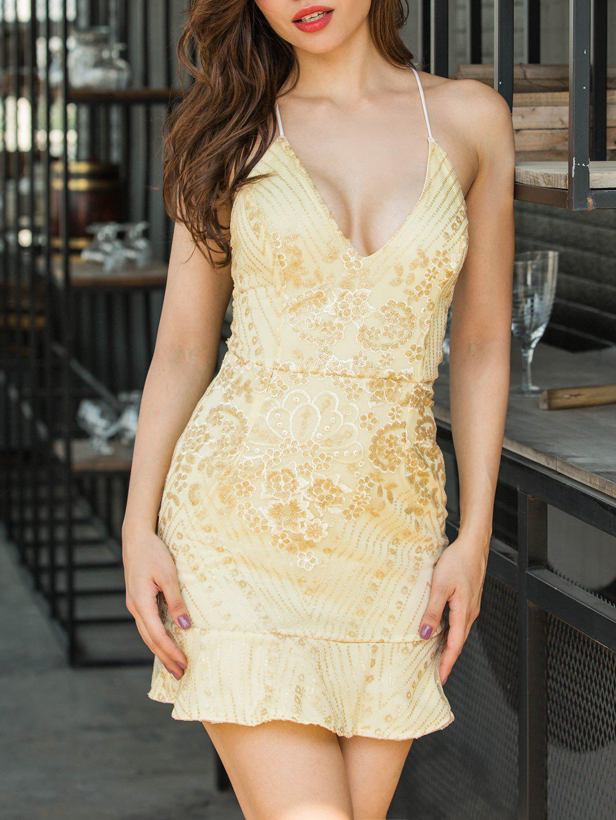 Shop Sequin Embroidered Backless Cami Dress