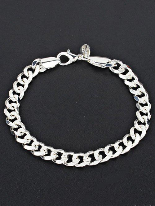 Alloy Chain Link BraceletJEWELRY<br><br>Color: SILVER; Item Type: Chain &amp; Link Bracelet; Gender: For Men; Chain Type: Link Chain; Style: Classic; Shape/Pattern: Solid; Length: 20.2CM; Weight: 0.0250kg; Package Contents: 1 x Bracelet;